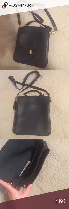Leather coach Authentic leather coach black crossbody. Classic look. Like new condition. Comes w original booklet. 10x9 Coach Bags Crossbody Bags