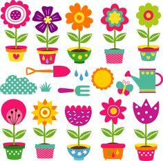 Flower Pots And Gardening Tools Clip Art Set Stock Vector - Illustration of floral, spring: 45186375 Folk Art Flowers, Flower Art, Garden Clipart, Boarder Designs, Decorated Flower Pots, Illustration Blume, Clip Art, 3d Prints, Art Deco Design