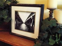 Black and White Photo , Distressed Black frame 15 x 13.5, Bridge Photography, upcycled frame, Beach Photography, Nature Photography