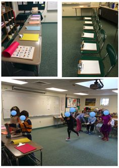 Un élève court voir les mots cachés sous une feuille, de l'autre un second élève qui doit écrire ce que lui dicte le premier.