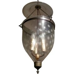 View this item and discover similar for sale at - A century 11 handblown glass bell jar lantern produced in Europe for the Anglo-INdian market with a profusion of etched stars of two different Glass Bell Jar, The Bell Jar, Candle Lanterns, Candles, Thing 1, Brass Fittings, Hand Blown Glass, Candelabra, Home Deco