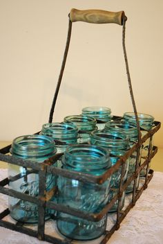 Vintage Bottle/Jar Carrier with Eight One Pint Mason Jars