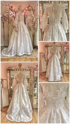 High neck long sleeve Edwardian style wedding dress by Joanne Fleming Design edwardian style lace wedding dress bridal separates with modest buttoned high neck long sleeve bodice and full silk damask skirt Bridal Dresses, Wedding Gowns, Prom Dresses, Event Dresses, Shift Dresses, Lace Weddings, Dress Prom, Dress Outfits, Edwardian Fashion