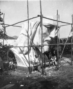 Construction of the head of Rio's Christ the Redeemer statue, 1927.