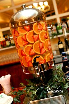 The strawberry and orange version of our signature fruit-infused water.Birch Hill Events #NY #Wedding #Albany