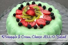 Pineapple Cream Cheese JELL-O Salad THIS IS A RECIPE THAT WE HAVE HAD IN THE FAMILY FOR YEARS. MY MOM WOULD ALWAYS TURN TO THIS DELICIOUS SALAD FOR PICNIC, HOLIDAYS OR JUST BECAUSE SHE LOVED US. WE LOVED IT AND I KNOW THAT YOU WILL TOO...ENJOY