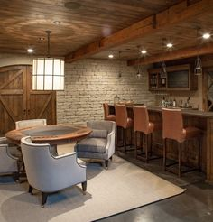 Browse photos of Basement Rec Room. Find ideas and inspiration for Basement Rec Room to add to your own home. See more ideas about Game room basement, Game room and Finished basement bars. Basement Bar Designs, Home Bar Designs, Basement Ideas, Small Basement Bars, Modern Basement, Walkout Basement, Basement Layout, Basement Inspiration, Basement Makeover