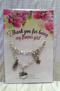 handmade wedding FLOWER GIRL silver plated chain charms BRACELET * size 4 - 7.5