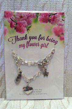handmade wedding FLOWER GIRL silver plated chain charms BRACELET * size 4 - 7.5