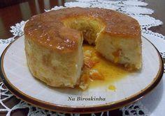 Pudim de Pão com Damascos - Na Biroskinha