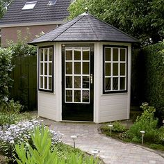 Solid Sheds offer the most durable and long-lasting Wooden Garden Sheds and Offices which last 4 times as long as our competitors. Small Summer House, Corner Summer House, Summer Houses, Garden Buildings, Garden Structures, Outdoor Structures, Octagonal Summer House, Solid Sheds, Grey Painted Walls