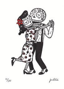 This is a limited edition Gocco screenprint titled Dancing Calaveras. It is a 1 color print with Black ink and hand coloring with Red on a 5 x Calaveras Mexicanas Tattoo, Day Of The Dead Art, Mexican Folk Art, Illustrations, Skull And Bones, Skull Art, Chicano, Hand Coloring, Screen Printing