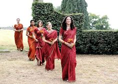 pretty, burnt orange and red shades for your bridesmaid sarees