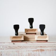 Set of 3 Washi Inspired - Rubber Stamps: diagonal stripe, linen grid + mini dot patterns, $33.50...great for DIY packaging.