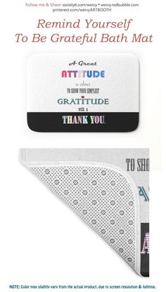 Gratitude ~ Xmas Spirit Quote Bath Mat by weivy Quote Typography, Lettering, Bath Towels, Bath Mat, Spirit Quotes, Face Towel, Gratitude, Thankful, Tapestry