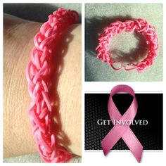 *For Charity* Rainbow loom pink diamond pattern Breast Cancer Awareness bracelet - donating profit