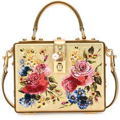 Dolce & Gabbana Dolce Box Medium Mirror Crystal Shoulder Bag (£2,770) ❤ liked on Polyvore featuring bags, handbags, shoulder bags, gold, handbags shoulder bags, handbag purse, crystal purse, beige shoulder bag and shoulder bag purse