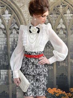 Morpheus Boutique  - White Chiffon Vintage Style Bow Ruffle Long Sleeve Shirt