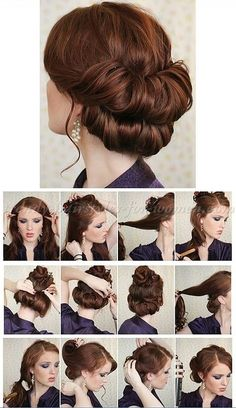 Vintage Hairstyles Tutorial step by step hairstyle tutorials - double chignon step by step Trendy Hairstyles, Wedding Hairstyles, Vintage Hairstyles Tutorial, Victorian Hairstyles, Hairstyles 2016, Medium Hairstyles, 1950s Hairstyles For Long Hair, Braided Hairstyles, 1920s Hair Tutorial