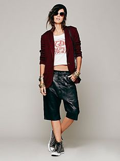 Free People Pleated Leather Short - <3 this whole outfit!
