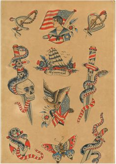 Cecil Rhodes tattoo history, tattoo flash - Cecil (or John Henry) Rhodes was one of the first tattoo artists in Dover, Kent. He started tattooi - Old Tattoos, Ship Tattoos, Arrow Tattoos, Flash Tattoos, Small Tattoos, Ankle Tattoo Small, Ankle Tattoos, Tiny Tattoo, Antique Tattoo