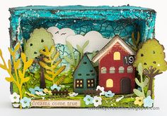 Layers of ink - Miniature House Shadow Box by Anna-Karin Evaldsson. Made for the Simon Says Stamp Monday Challenge Blog, with Sizzix dies by Tim Holtz and inside a Tim Holtz Vignette Box.