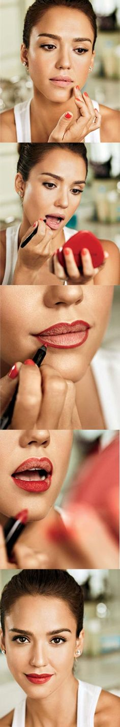 Jessica Alba's four steps to perfect red lips