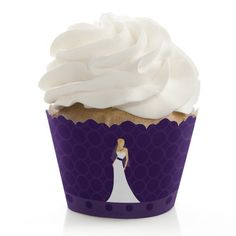 Bride Purple - Bridal Shower Cupcake Wrappers - Set of 12 *** Special offer just for you. : Baking desserts tools