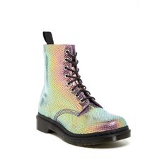 Dr. Martens Pascal Metallic Boot featuring polyvore, fashion, shoes, boots, ankle booties, ankle boots, violet, platform bootie, short heel boots, low heel ankle boots and lace up platform booties