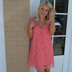 Our favorite hue of the moment gets a romantic twist with this lace shift dress from BB Dakota. It's perfect for Easter Sunday and similar styles to choose from can be shopped in store or online! #shopatl #atlantaboutique #handinpocket #stayHIP #shoplocal #shopsmall #springstyle #trendy #ootd #outfitinspiration #laceshiftdress #easteroutfit #easterdress #karlieclothes #pinkdress #springoutfit #dresstoimpress