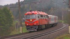 Lithuanian railways (LG) electric multiple unit EMU (ŠKODA Transportation a.s.) EJ575-001 and diesel passenger locomotive TEP70-0346 with a passenger train M...