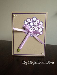 Lilac Floral Bouquet Card using Stampin' Up!'s Itty Bitty Punch Pack, Color Spritzer Tool and Pearls by StyleDealDiva on Etsy, $4.00