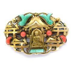 Vintage Czech Art Deco Neiger Bhudda Oriental Peking Coral Glass Brooch | Clarice Jewellery | Vintage Costume Jewellery