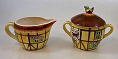 Charming Red Horse Inn Vintage Ceramic Pottery Creamer and Sugar Vintage China, Vintage Ceramic, Ceramic Pottery, Vintage Kitchen, Dinnerware, Glass Art, Sugar, Horses, Ceramics
