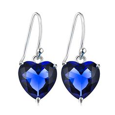 Angel caller Ladies Jewelry 925 Sterling Silver Simple Shining Cubic Zirconia Heart Drop Dangle Earrings (Deep blue) - A beautifully designed jewelry package is included for an impressive gift presentation Our company was founded in 2006,we have more than 100 branch offices nationwide and more than 2000 employees so far,there are kinds of jewelry,welcome to retail sale and wholesale. Guarantee: we sell the high q...