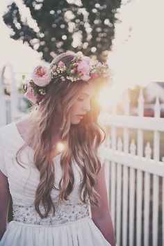 #FlowerCrown pretty dress sunset. wedding