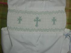 Boys white jon jon with handsmocked crosses by theclassicbaby, $70.00