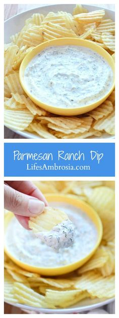 Quick, easy and light this Parmesan Ranch dip made with greek yogurt, mayonnaise, dill and garlic is the perfect dip for all your potluck parties!