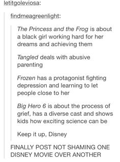 I dedicate this little number to all the people who STILL insist Disney doesn't provide kids with good role models.  Well done, Disney.