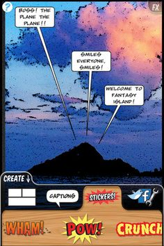 Comic Book: similar to Strip Designer.  A person selects their layout, adds their photos, select some effects/stickers/speech bubbles for their finished product.  $1.99