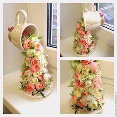 """Купить Камелия""""Нежная"""" - комбинированный, парящая чашка, парящая кружка, чашка с блюдцем, топиарий, подарок"""