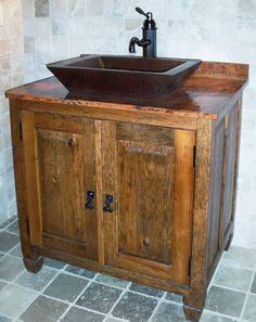 Bathroom, : Modern Contemporary Bathroom Furniture Design Of Brown Wooden Bathroom Cabinet Combine With Rustic Dark Brown Vessel Sink Also Natural Grey Tile Floor And Wall