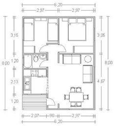 Resultado de imagem para croquis de casas de 60 metros cuadrados