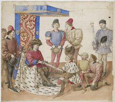 Barthélémy d'Eyck, Icy aprés est pourtraictie la façon et manière comme le Duc de Bretaigne appellant baille l'espée au Roy d'armes pour l'envoyer présenter au Duc de Bourbon deffendant (Livre des Tournois, 1462-65, Bibliothèque nationale de France, Paris)