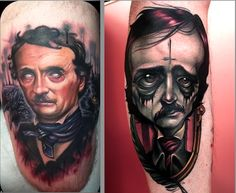 Tattoos by Paul Acker and Kelly Doty, respectively #InkedMagazine #Poe #tattoo #tattoos #art