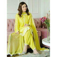 Greenish yellow chanderi cotton salwar suit