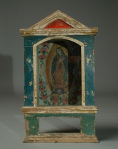 19th cent Mexican retablo Religious Icons, Religious Art, Madonna, Home Altar, Sacred Art, Sacred Symbols, Assemblage Art, Mexican Folk Art, Box Art