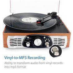 Tocadiscos Estéreo 3 Velocidades Altavoces Graba Vinilo a MP3 con MP3 Salida RCA