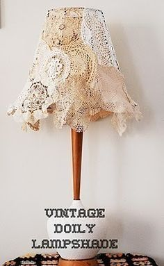 DIY: vintage doily lampshade,,would look nice with shabby shic Diy Vintage, Shabby Vintage, Vintage Lace, Vintage Vanity, Doilies Crafts, Lace Doilies, Lampe Crochet, Diy Crochet, Doily Lamp