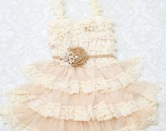 Rustic Lace Flower Girl Dress Rustic Flower by CountryCoutureCo